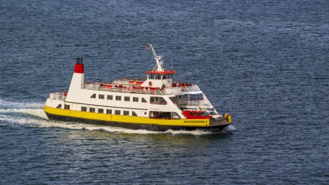AX147_320.0000160 - Aerial stock photo of A ferry carrying passengers and vehicles, Portland, Maine