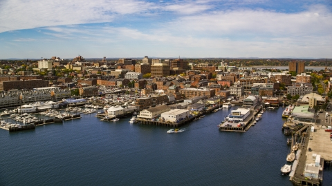 AX147_323.0000000 - Aerial stock photo of Downtown piers and a marina, Portland, Maine