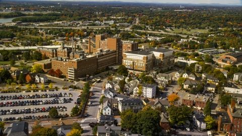 AX147_353.0000000 - Aerial stock photo of Maine Medical Center, autumn, Portland, Maine