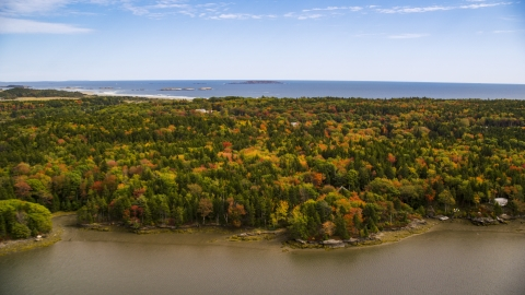 AX147_383.0000000 - Aerial stock photo of A colorful forest and rural homes, Phippsburg, Maine