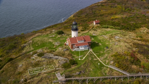 AX147_389.0000412 - Aerial stock photo of A view of the Seguin Light in autumn, Phippsburg, Maine