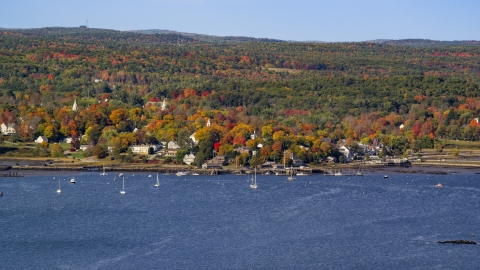 AX148_002.0000198 - Aerial stock photo of A small waterfront town in autumn, Wiscasset, Maine