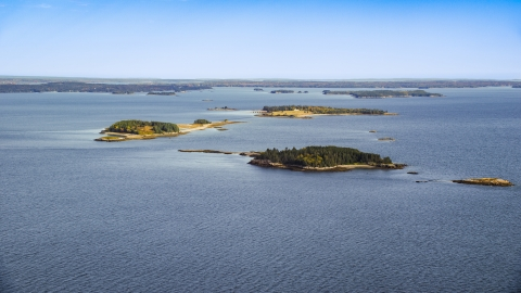 AX148_130.0000000 - Aerial stock photo of Small islands with trees, Hog Island, Maine