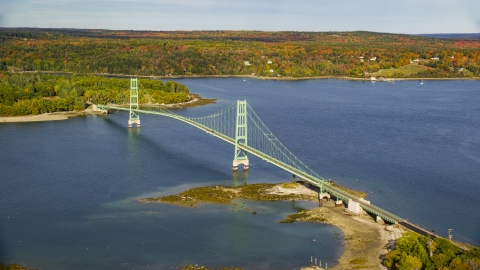 AX148_139.0000000 - Aerial stock photo of The Deer Isle Bridge in autumn, Maine