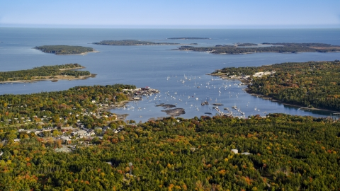 AX148_159.0000000 - Aerial stock photo of The Southwest Harbor on Mount Desert Island, Maine