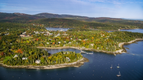 AX148_163.0000000 - Aerial stock photo of A small coastal town in autumn, Northeast Harbor, Mount Desert Island, Maine