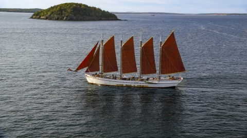 AX148_197.0000000 - Aerial stock photo of A sailing ship in Bar Harbor, Maine