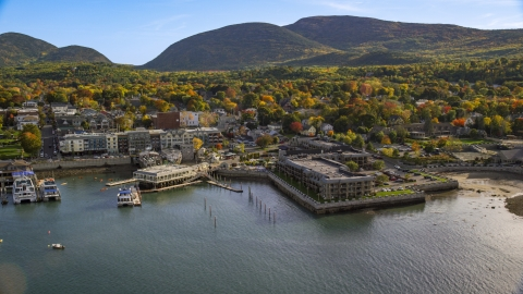 AX148_201.0000164 - Aerial stock photo of Harborside Hotel, Spa and Marina in autumn, Bar Harbor, Maine