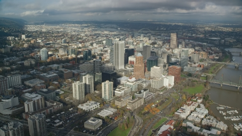 AX153_073.0000000F - Aerial stock photo of The tall high-rises of Downtown Portland, Oregon