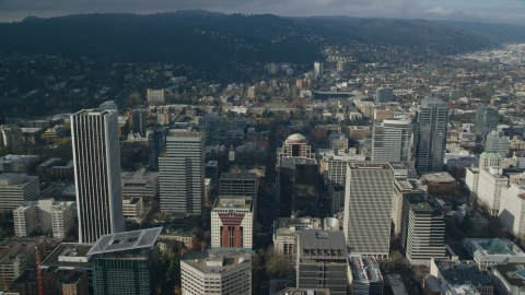 AX153_084.0000353F - Aerial stock photo of Downtown Portland's high-rises in Oregon