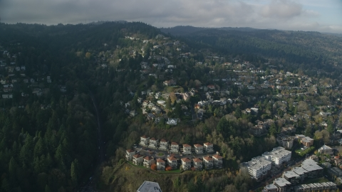 AX153_096.0000259F - Aerial stock photo of Houses in the Hillside neighborhood of Portland, Oregon