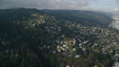 AX153_096.0000378F - Aerial stock photo of Homes in the Hillside neighborhood of Portland, Oregon