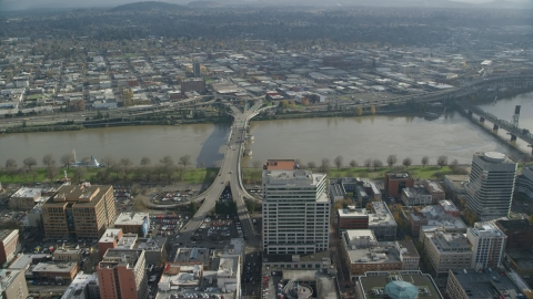AX153_099.0000085F - Aerial stock photo of The Morrison Bridge in Downtown Portland, Oregon