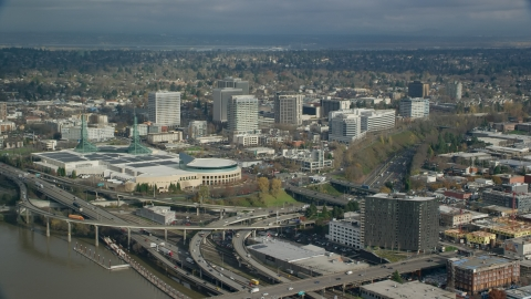 AX153_100.0000000F - Aerial stock photo of Oregon Convention Center and office buildings in Lloyd District, Portland, Oregon