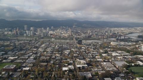 AX153_103.0000000F - Aerial stock photo of The Burnside Bridge and Downtown Portland, Oregon