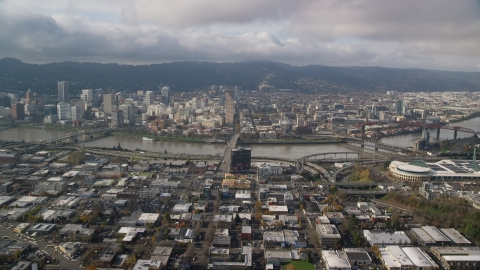 AX153_103.0000249F - Aerial stock photo of The Burnside Bridge leading to Downtown Portland, Oregon