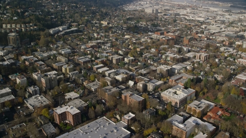 AX153_108.0000000F - Aerial stock photo of Apartment and office buildings in Northwest Portland, Oregon