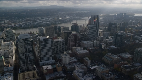 AX153_109.0000263F - Aerial stock photo of Skyscrapers near the Willamette River in Downtown Portland, Oregon