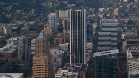 AX153_126.0000154F - Aerial stock photo of The KOIN Center and Wells Fargo Center high-rises in Downtown Portland, Oregon