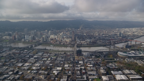 AX153_128.0000263F - Aerial stock photo of View of bridges on the Willamette River and Downtown Portland, Oregon