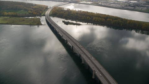 AX153_139.0000298F - Aerial stock photo of The I-205 Bridge over the Columbia River in Vancouver, Washington