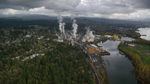 AX153_151.0000000F - Aerial stock photo of The Georgia Pacific Paper Mill in Camas, Washington