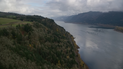 AX153_184.0000000F - Aerial stock photo of A view of the Columbia River Gorge in Oregon