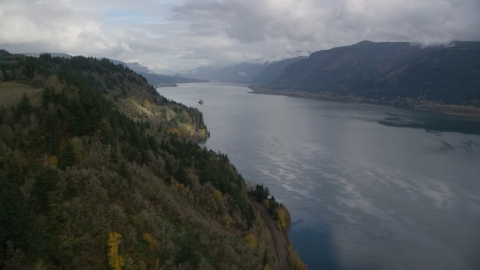 AX153_185.0000000F - Aerial stock photo of The river in the Columbia River Gorge, Oregon