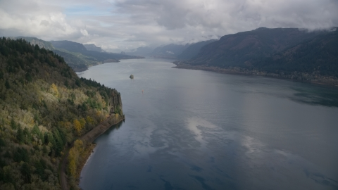 AX153_185.0000228F - Aerial stock photo of The Columbia River Gorge, Skamania County, Washington
