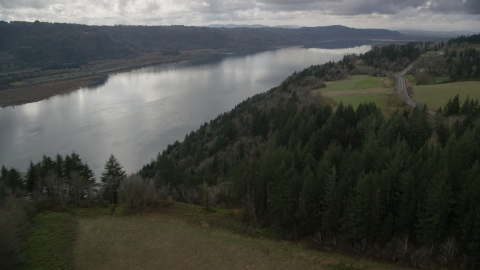 AX153_188.0000183F - Aerial stock photo of Columbia River Gorge seen from tree covered cliff, Washington