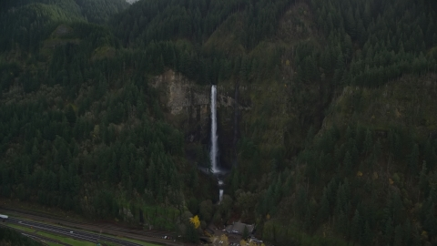 AX154_020.0000226F - Aerial stock photo of Multnomah Falls in Columbia River Gorge, Multnomah County, Oregon