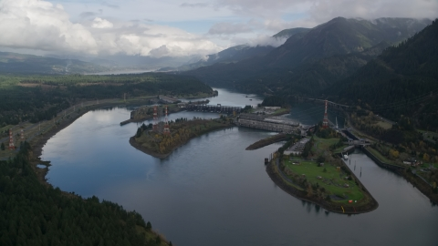 AX154_028.0000241F - Aerial stock photo of Bonneville Dam in the Columbia River, Columbia River Gorge