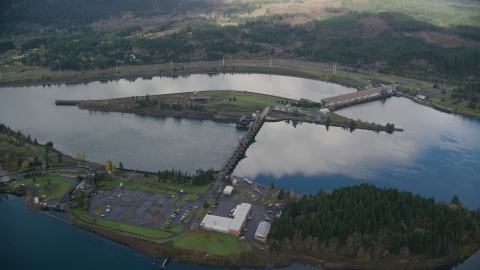 AX154_036.0000274F - Aerial stock photo of The Bonneville Dam in the Columbia River, Columbia River Gorge