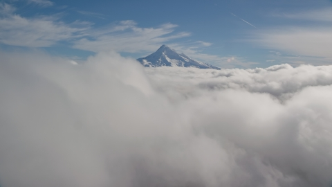 AX154_061.0000171F - Aerial stock photo of Summit of Mount Hood sticking up through the clouds, Cascade Range, Oregon