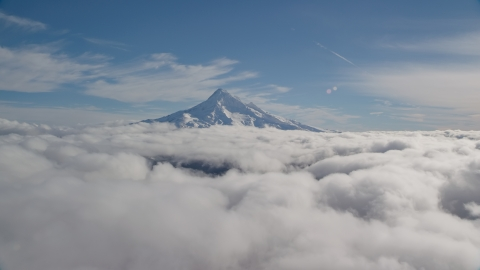 AX154_065.0000000F - Aerial stock photo of Snowy summit of Mount Hood above the clouds, Cascade Range, Oregon