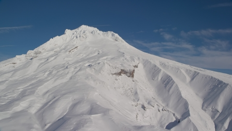 AX154_085.0000000F - Aerial stock photo of Steep Mount Hood slopes with snow, Mount Hood, Cascade Range, Oregon