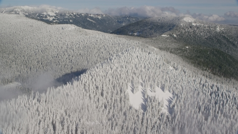 AX154_100.0000359F - Aerial stock photo of A mountain ridge covered with snowy forest in the Cascade Range, Oregon