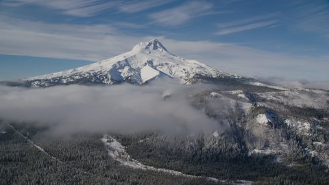 AX154_109.0000000F - Aerial stock photo of Low clouds over evergreen forest near the peak covered in snow, Mount Hood, Cascade Range, Oregon