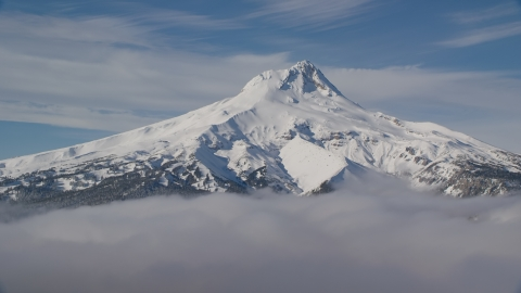 AX154_110.0000000F - Aerial stock photo of Low clouds and Mount Hood, Cascade Range, Oregon