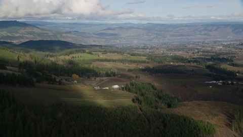 AX154_149.0000000F - Aerial stock photo of A view across farms in Hood River, Oregon