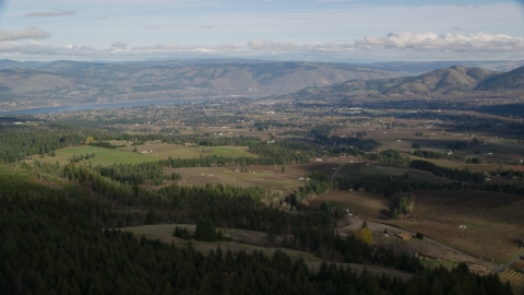 AX154_149.0000336F - Aerial stock photo of A view across farms in Hood River, Oregon