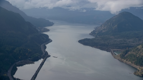 AX154_155.0000222F - Aerial stock photo of The Columbia River in Columbia River Gorge