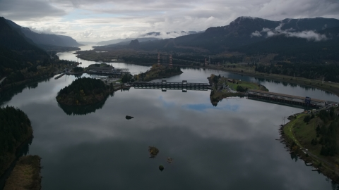 AX154_176.0000071F - Aerial stock photo of A view of the Bonneville Dam in the Columbia River Gorge