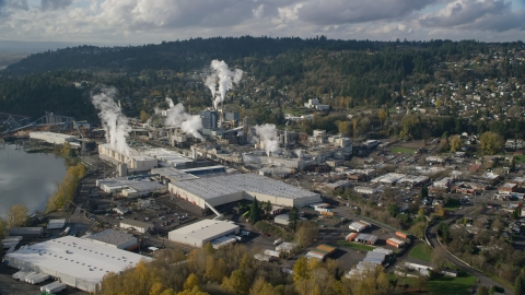 AX154_212.0000151F - Aerial stock photo of The Georgia Pacific Paper Mill in Camas, Washington