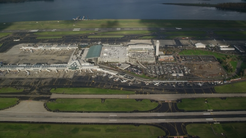 AX154_223.0000244F - Aerial stock photo of A view of Portland International Airport, Oregon