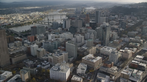 AX154_238.0000329F - Aerial stock photo of Skyscrapers and the Willamette River in Downtown Portland, Oregon