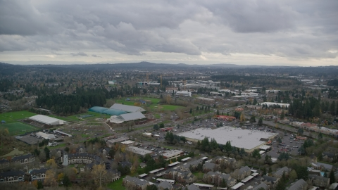 AX155_008.0000037F - Aerial stock photo of Shopping center and Tualatin Hills Sports Complex near Nike Headquarters, Beaverton, Oregon