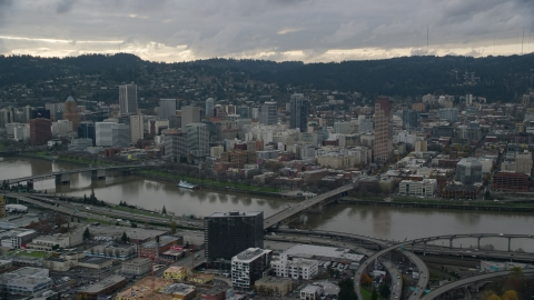 AX155_042.0000166F - Aerial stock photo of Downtown Portland, Oregon, seen across the Willamette River
