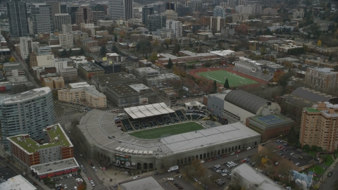 AX155_057.0000007F - Aerial stock photo of Providence Park in Goose Hollow, Portland, Oregon
