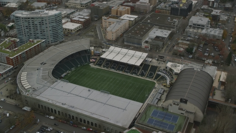 AX155_057.0000173F - Aerial stock photo of Providence Park in Goose Hollow, Portland, Oregon